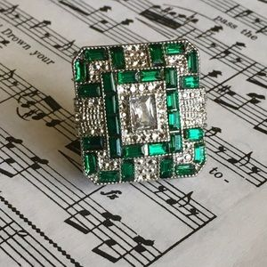 Emerald Green Art Deco Cocktail Ring size 7